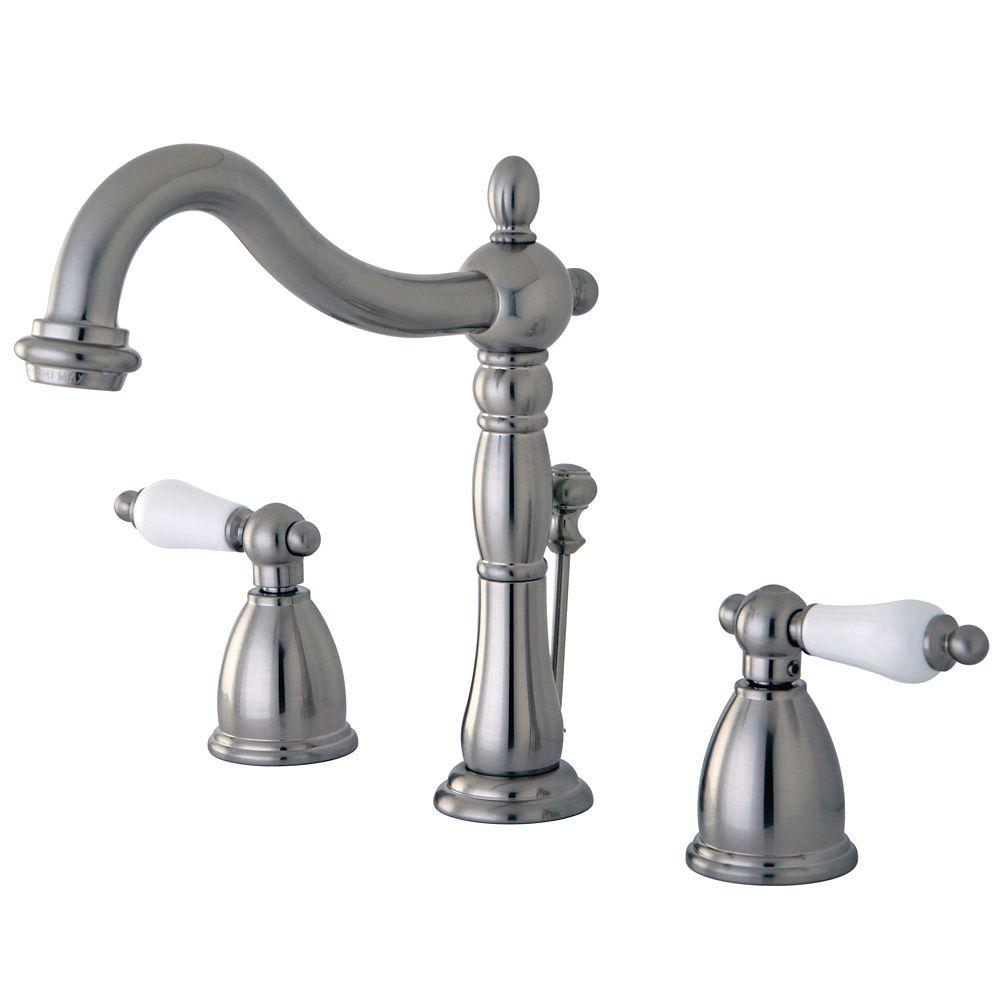 Victorian 8-inch Widespread 2-Handle Bathroom Faucet in Satin Nickel Finish