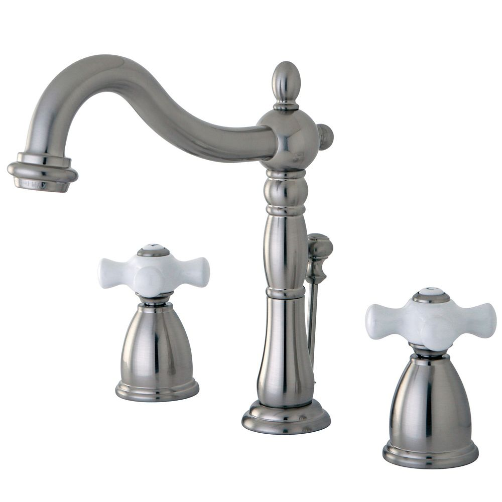 Kingston Brass Victorian Widespread (8-inch) 2-Handle High Arc Bathroom Faucet In Satin Ni