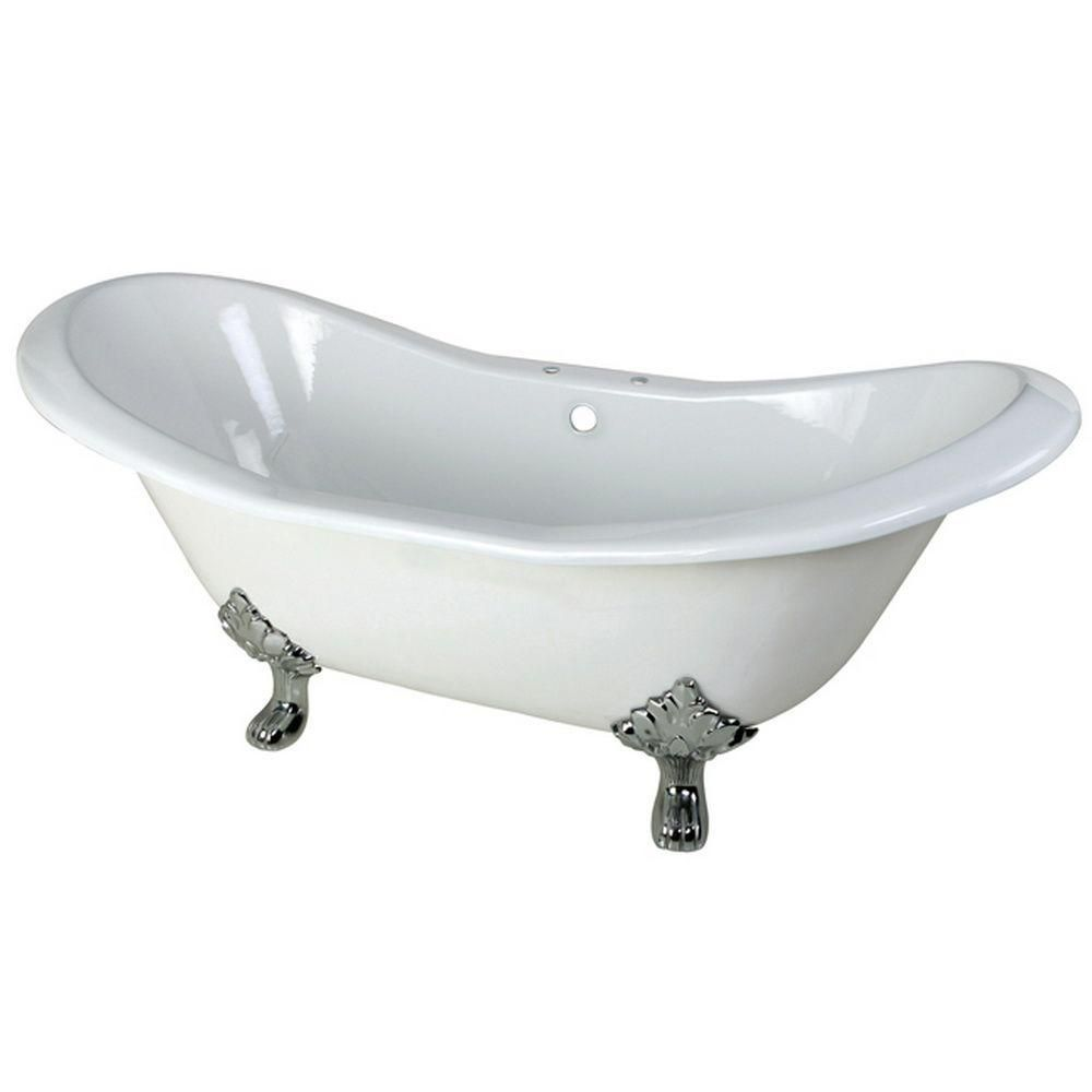 Aqua Eden 6 Feet Cast Iron Polished Chrome Clawfoot Double Slipper Bathtub with 7-Inch Deck Holes in White
