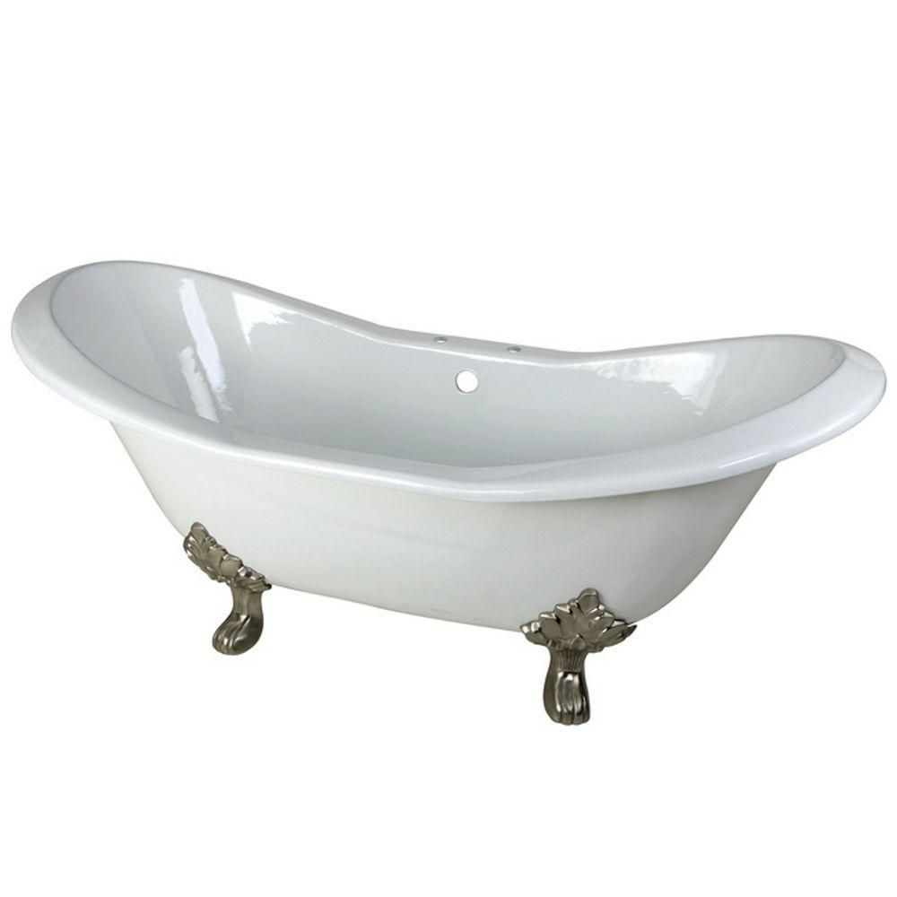 Aqua Eden 6 Feet Cast Iron Satin Nickel Clawfoot Double Slipper Bathtub with 7-Inch Deck Holes in White