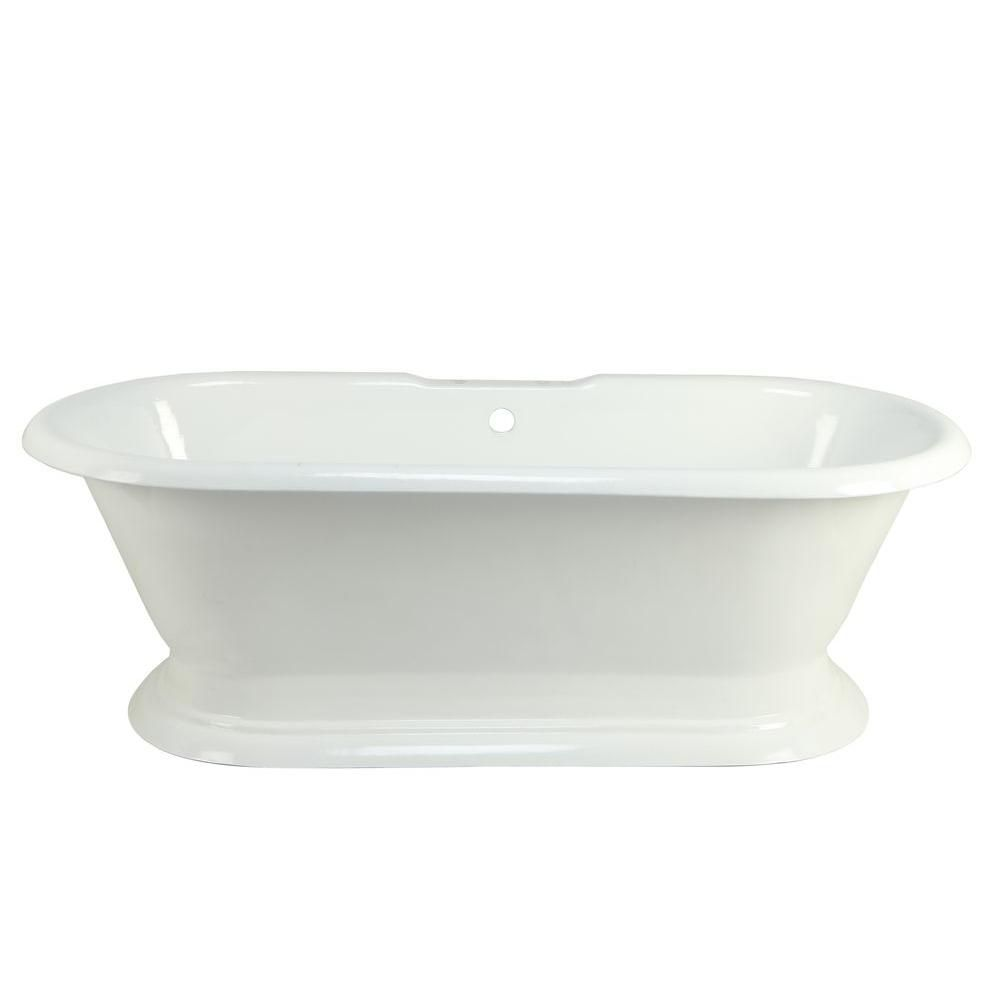 6 Feet Cast Iron Double Ended Pedestal Bathtub with 7-Inch Deck Holes in White