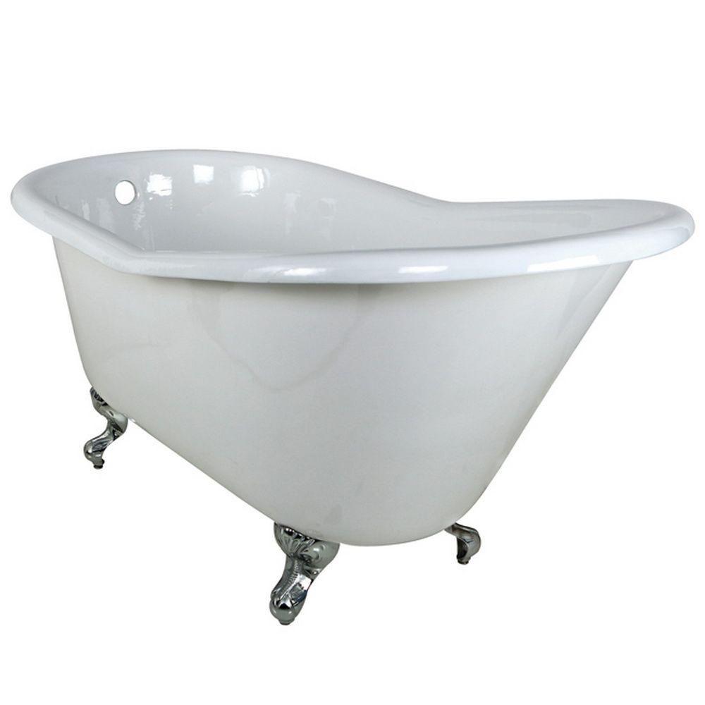5 Feet Cast Iron Polished Chrome Clawfoot Slipper Bathtub in White