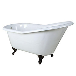 Aqua Eden 5 Feet Cast Iron Oil Rubbed Bronze Clawfoot Slipper Bathtub in White
