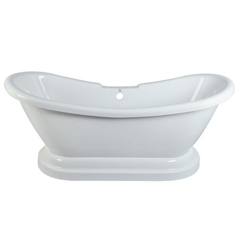 Aqua Eden 5.8 ft. Acrylic Double Slipper Pedestal Tub with 7-inch Deck Holes in White