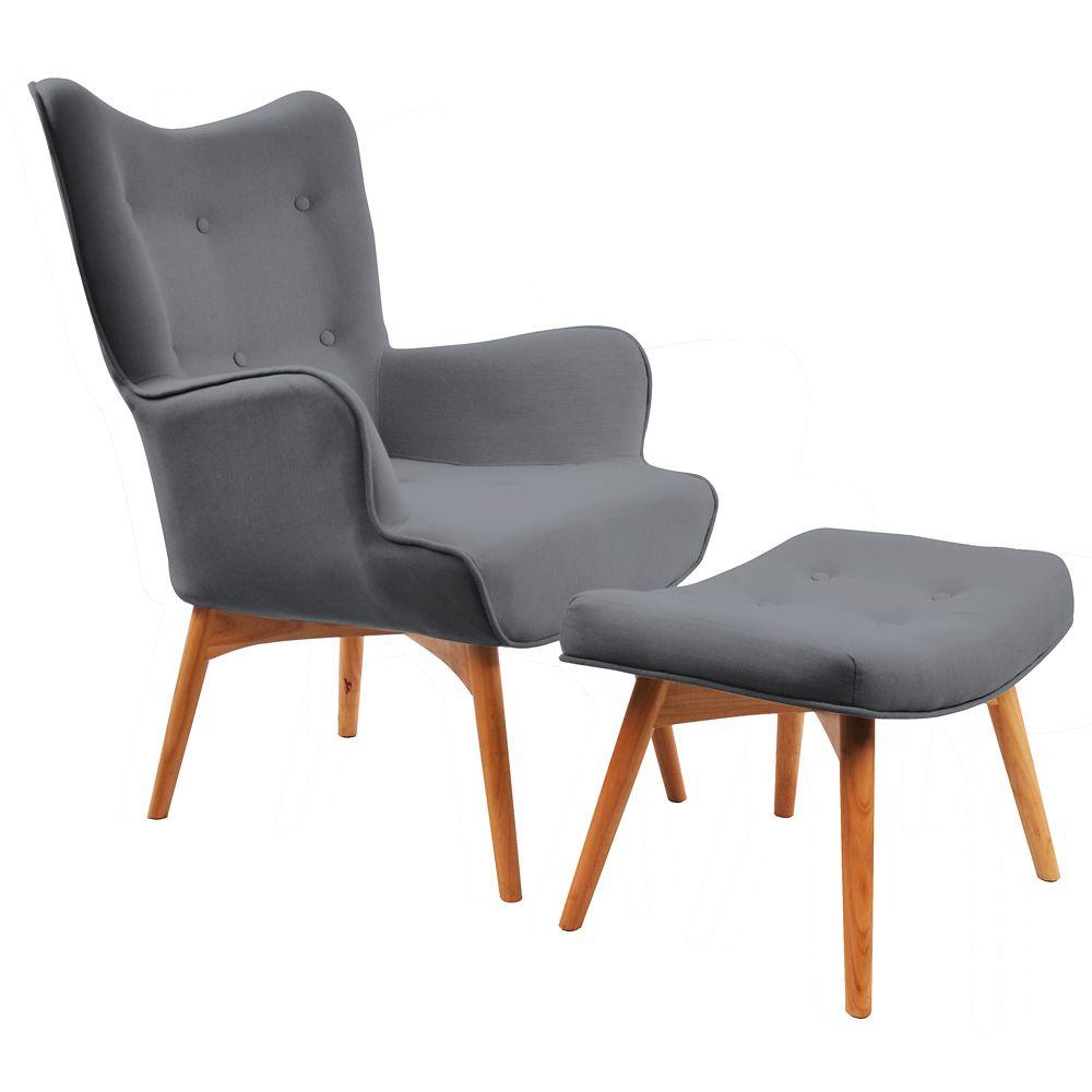 Rigi-Accent Chair W/Stool-Dark Grey