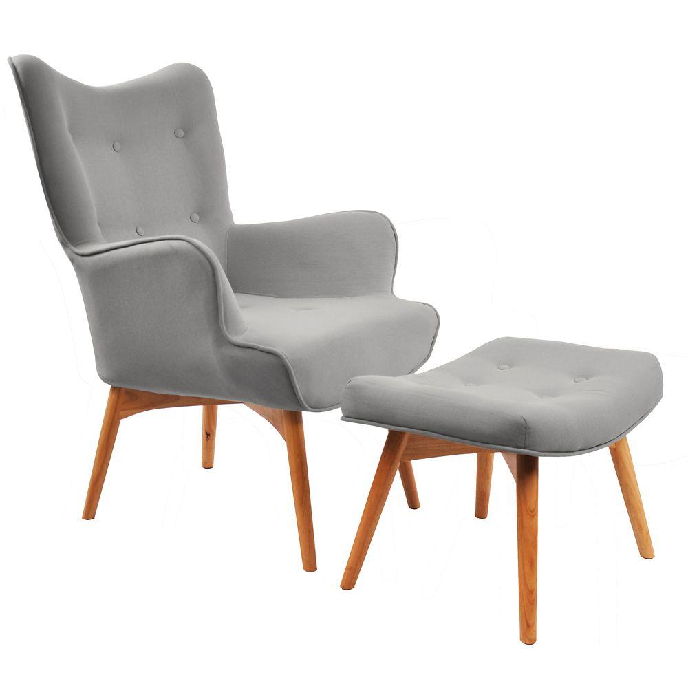 Rigi-Accent Chair W/Stool-Light Grey