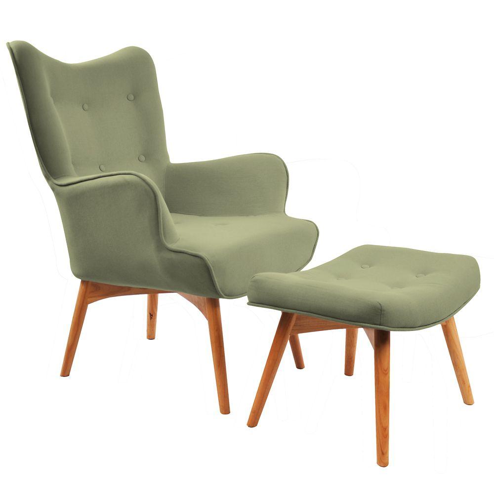 Rigi-Accent Chair W/Stool-Olive Green