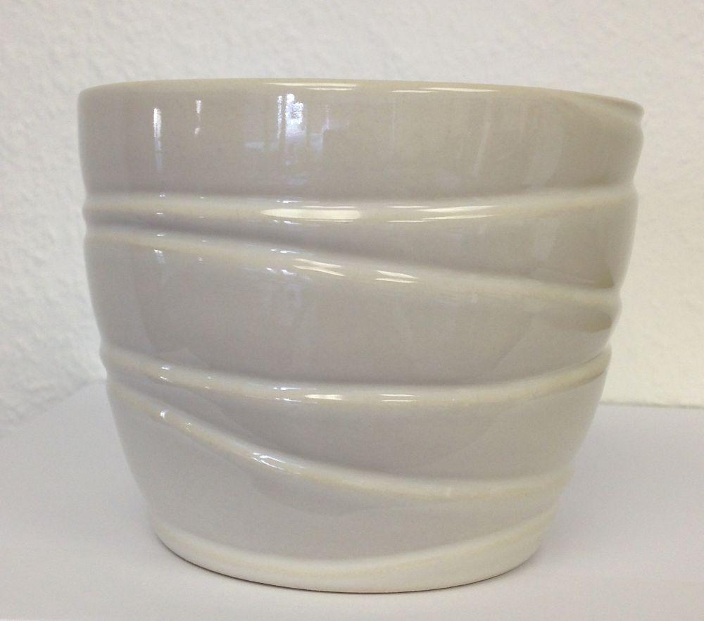 Ceramic Pot Wave White 12 In