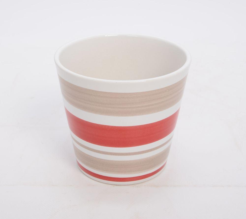 Ceramic Pot Striped 6 In