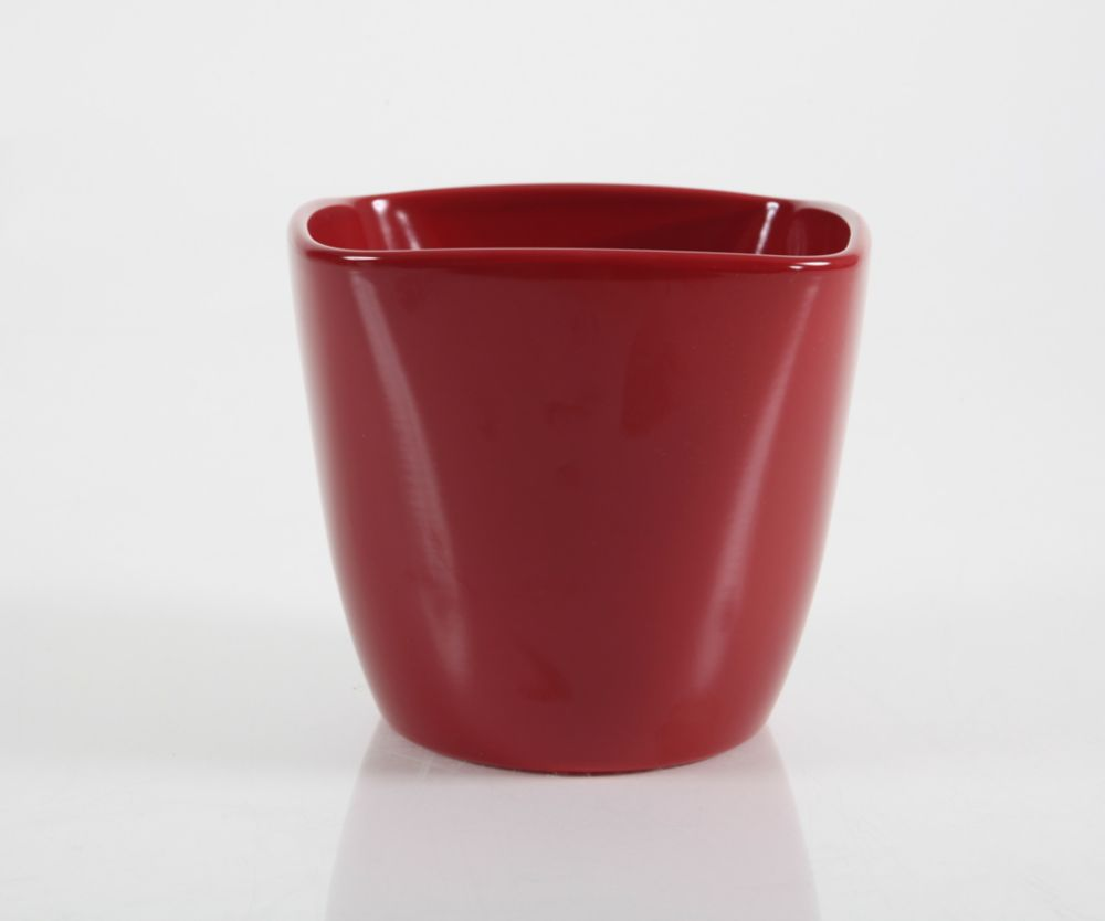 Ceramic Pot Square Red Matte 6 In