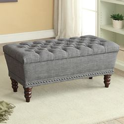 !nspire Hampton 42.25-inch x 17.75-inch x 17-inch Solid Wood Frame Bench in Grey