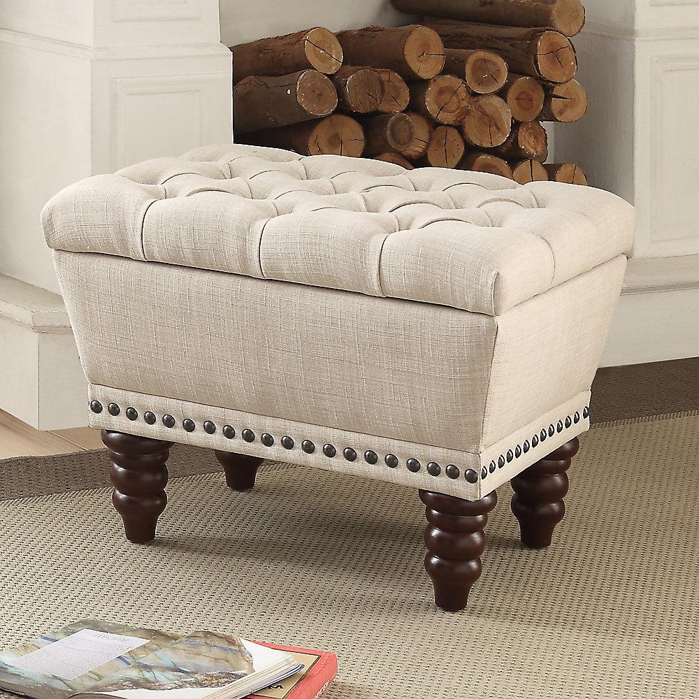Hampton 22-inch x 17.75-inch x 17-inch Solid Wood Frame Bench in Beige