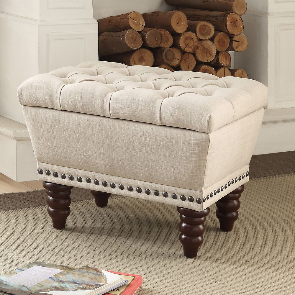 !nspire Hampton 22-inch x 17.75-inch x 17-inch Solid Wood Frame Bench in Beige