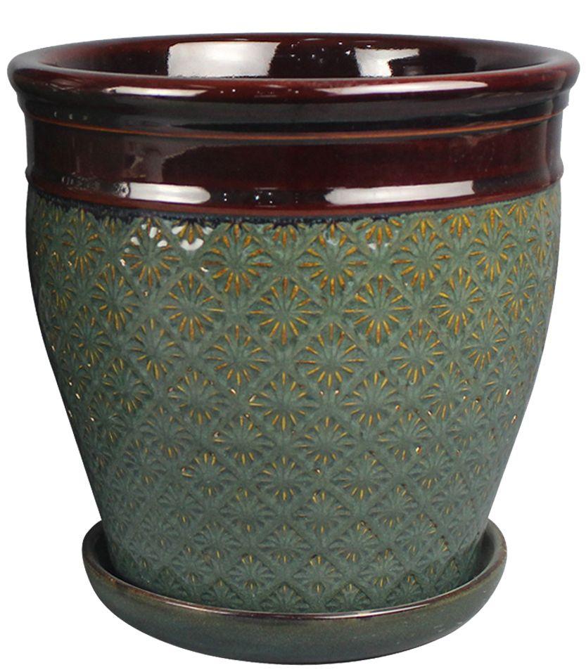 Pot à motifs soleil, bleu de 25.4 cm