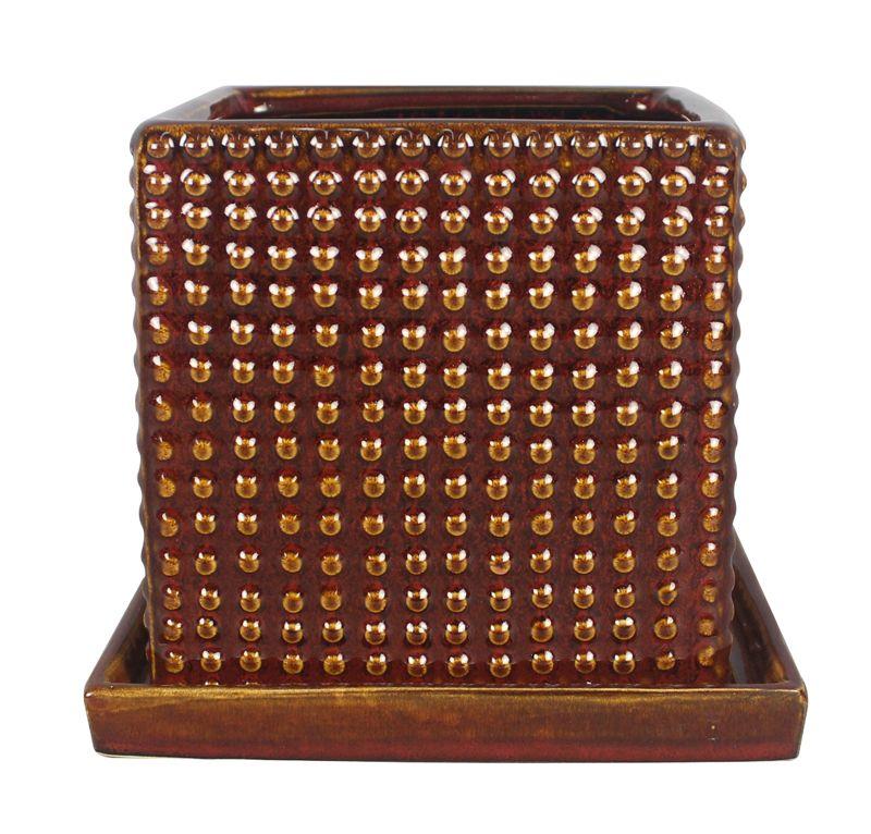 Pot carré, style texturé de 15.24 cm