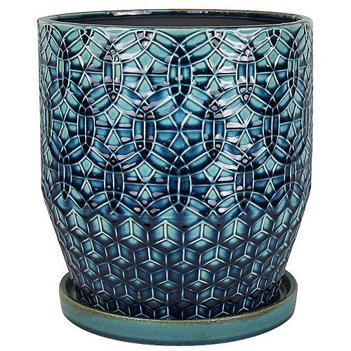 Trendspot 10 inch Rivage Ceramic Planter, Blue