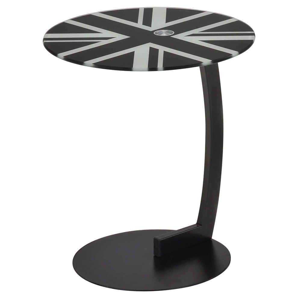 London-Round Accent Table-Black