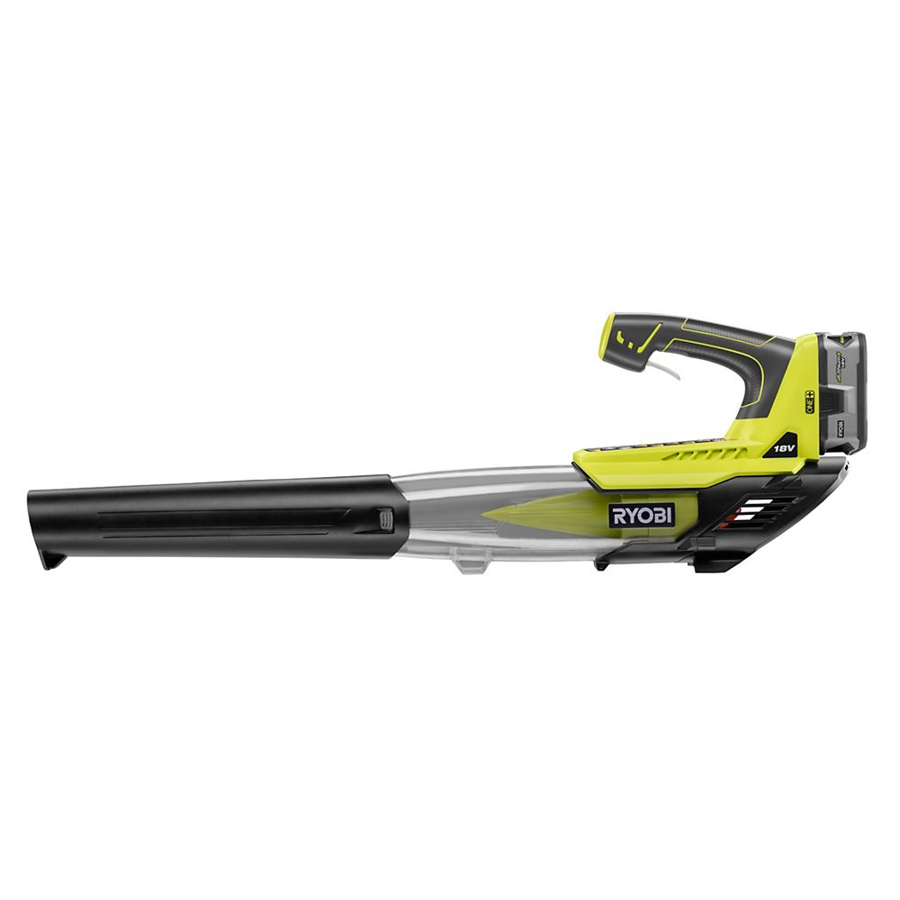 RYOBI 18V ONE+ 100 MPH 280 CFM Variable-Speed Li-Ion Cordless Jet Fan Leaf Blower w/ 4Ah Battery & Charger