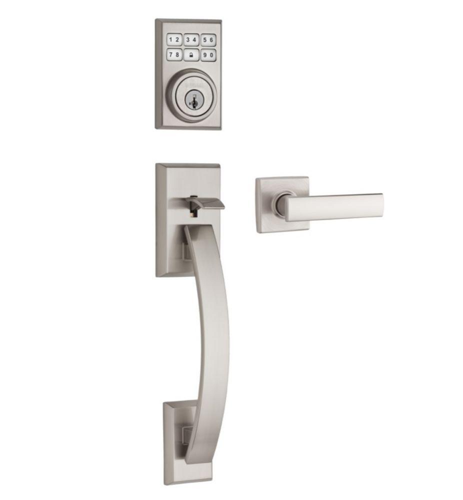 Tavaris SmartCode<sup>®</sup> Single Cylinder Satin Nickel Handleset with Vedani Lever and SmartK...