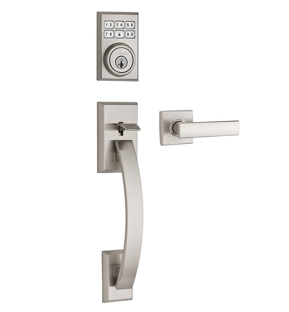 Tavaris SmartCode Satin Nickel Single Cylinder Keyless Entry Handleset with Vedani Lever and SmartKey