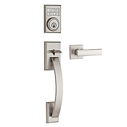 Tavaris SmartCode Satin Nickel Single Cylinder Keyless Entry Handleset with Vedani Lever and SmartKey