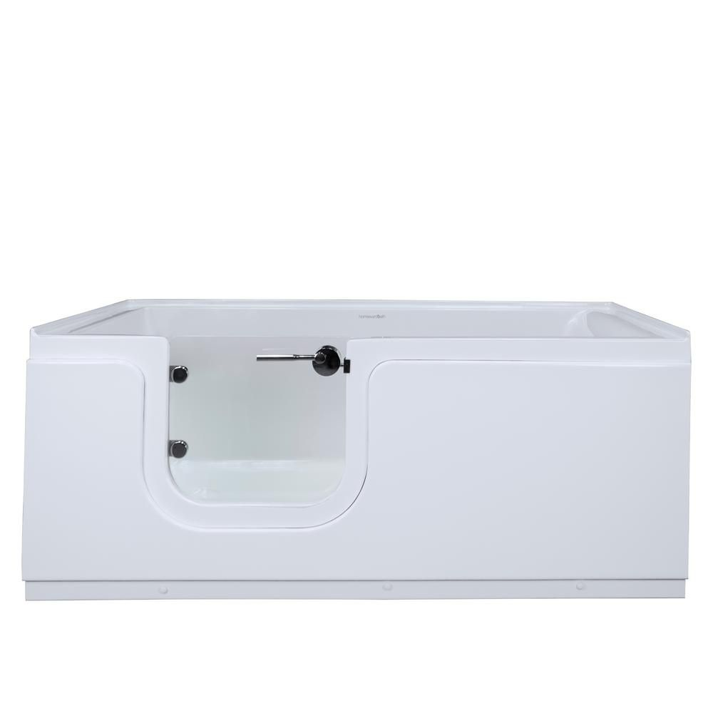 Homeward Bath Aquarite 5 ft. Left Drain Freestanding Step-In Bathtub with Waterproof Tempered Glass Door in White