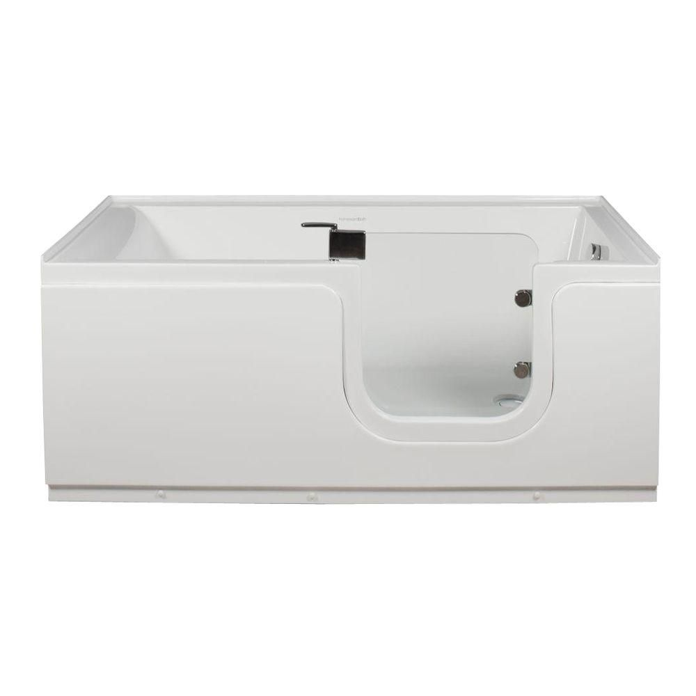 Aquarite 5 Feet Step-In Non Whirlpool Bathtub in White with Glass Door
