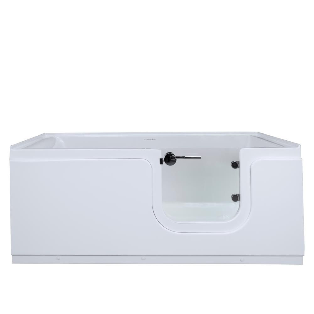 Homeward Bath Aquarite 5 Feet Step-In Whirlpool Bathtub in White with Glass Door