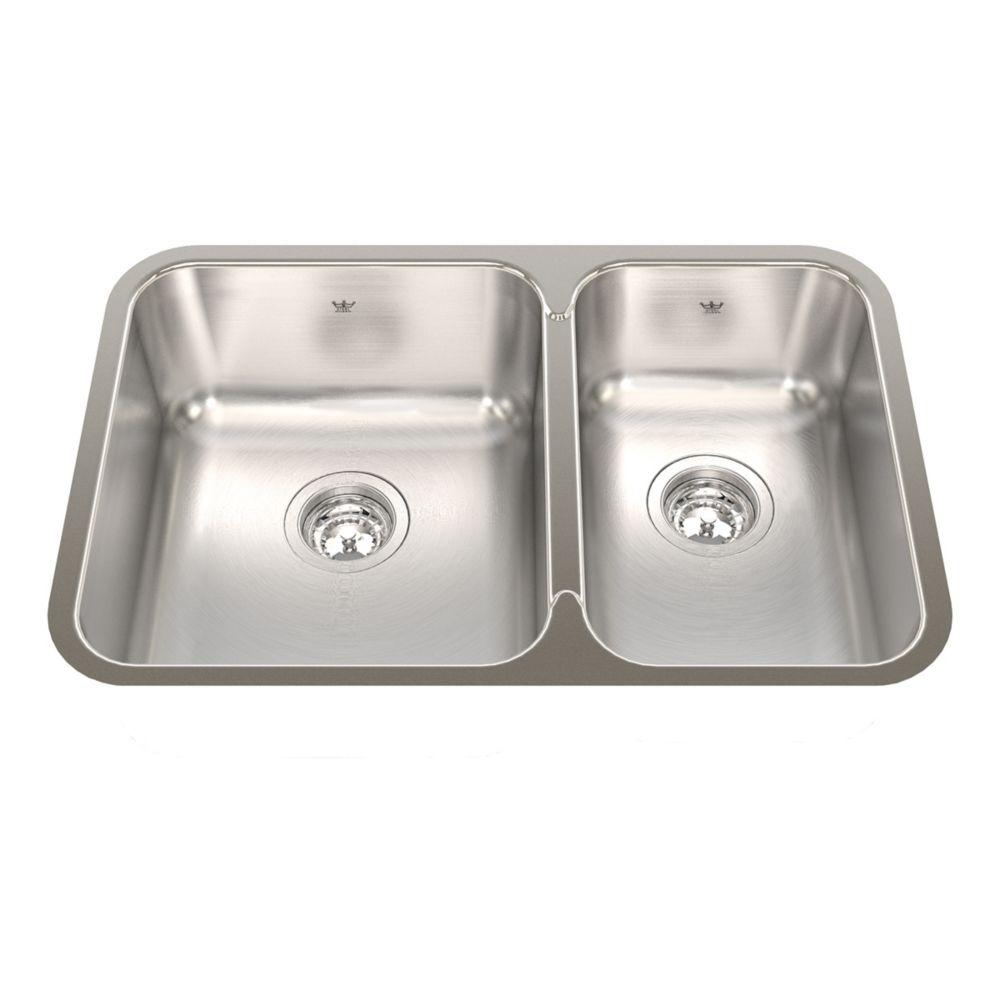 "Kindred Combination RH UM 20 Ga sink - 17-3/4"" X 26-7/8"" X 8"""