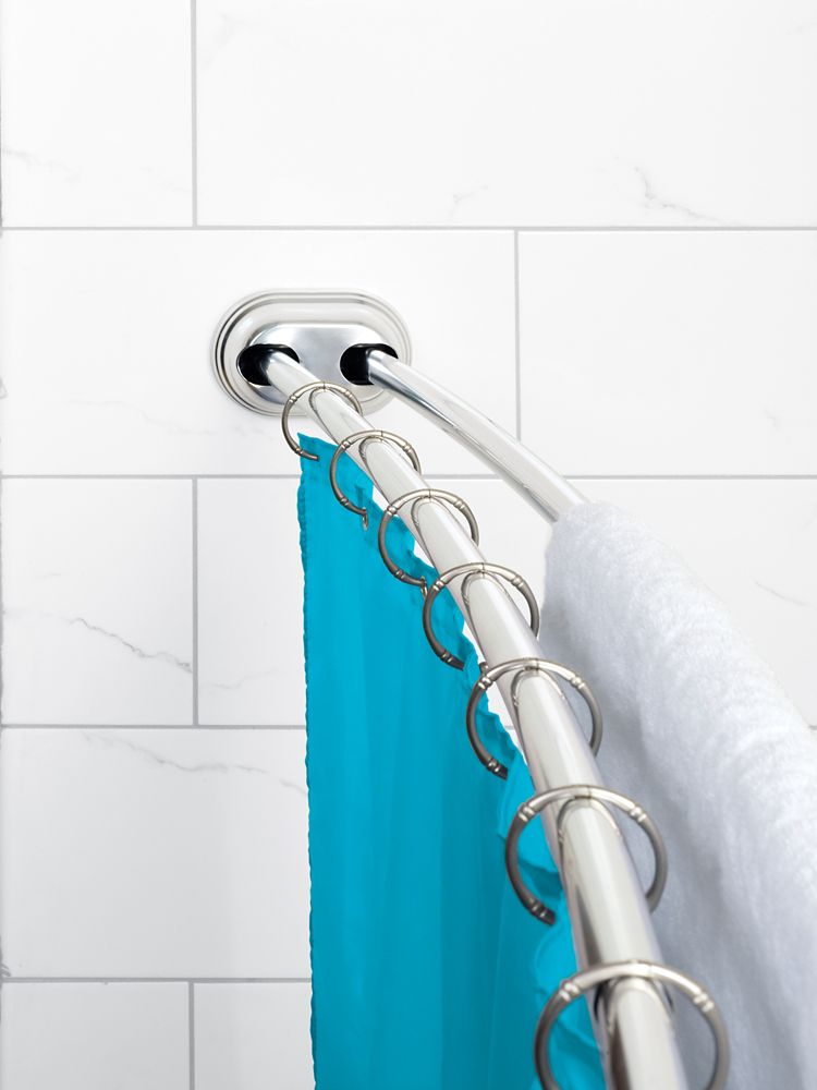 """Zenna Home NeverRust 50""""- 72"""" Alum. Adjustable Tension Mount Double Curved Shower Rod in Chrome"""