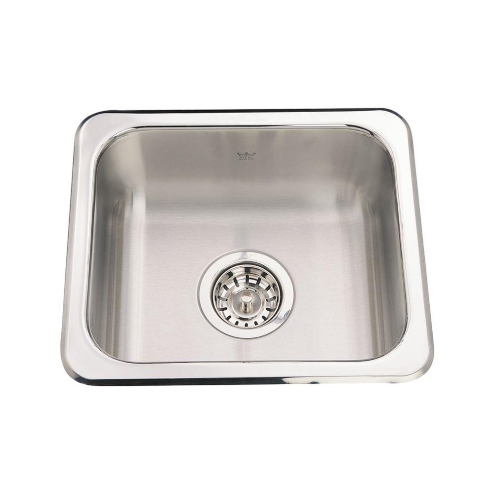 "Kindred Single sink 20 Ga - 13-1/8"" X 15-1/8"" X 6"""