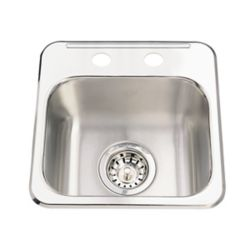 Kindred Single sink 20 Ga 2 hole drilling