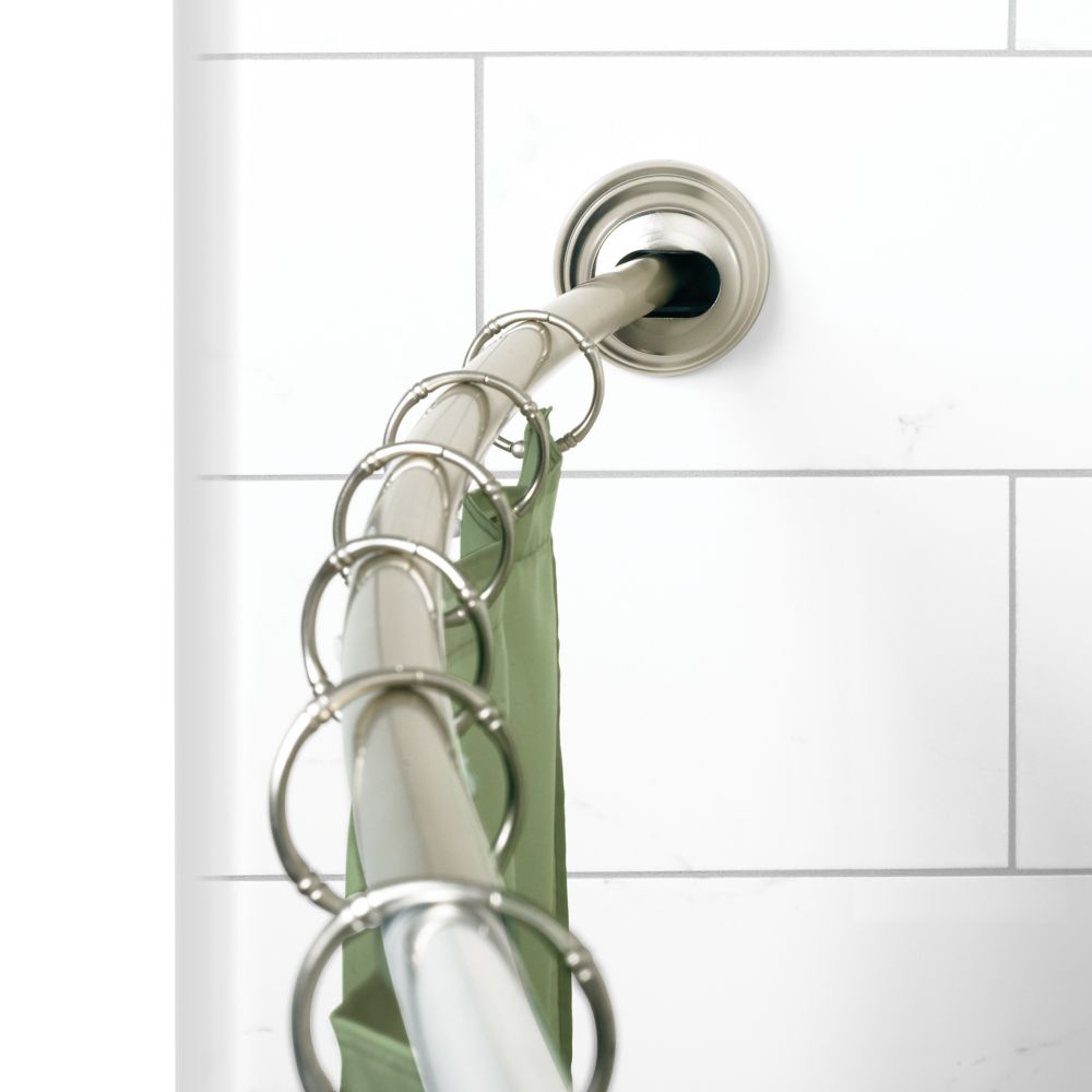 "Zenna Home NeverRust 50""-72"" Alum. Adjustable Tension Mount Curved Shower Rod in Satin Nickel"