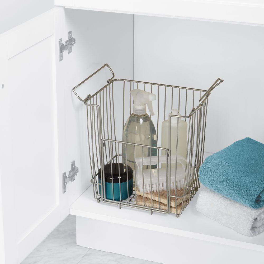 Large Stacking Vanity Storage Basket in Satin Chrome