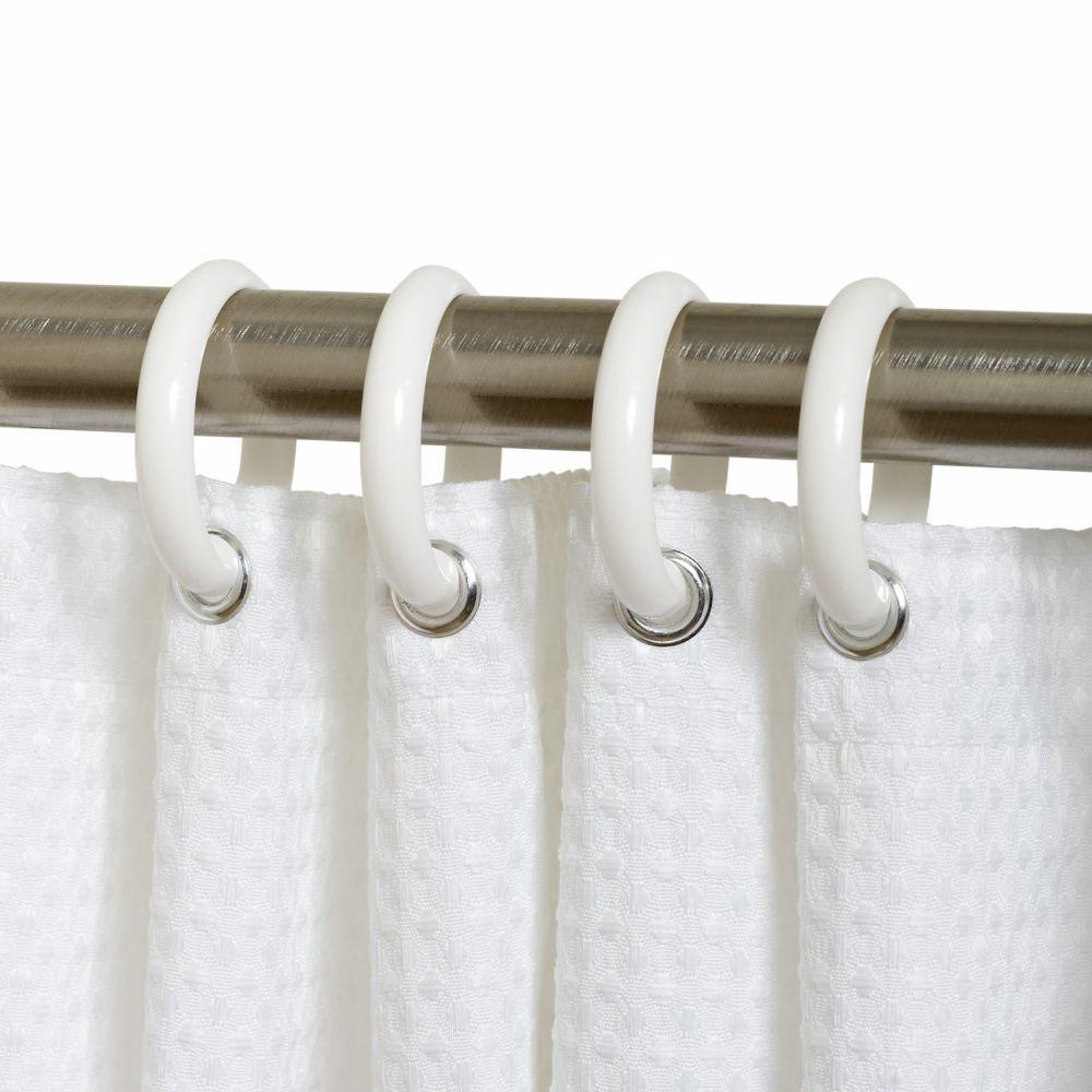 Anneaux de rideau de douche en plastique blanc Zenith