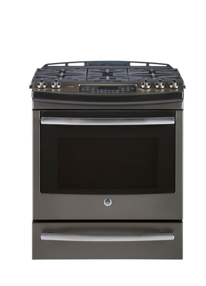 5.4 cu. ft. 30-inch Slide-In Single Oven Gas Convection Self-Cleaning Range Slate