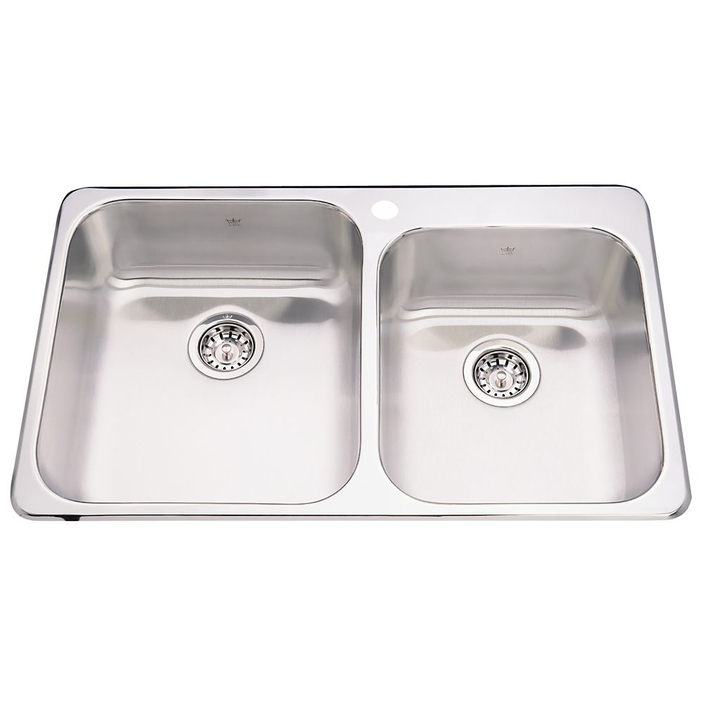 """Kindred Combination 20 Ga sink 1 hole drilling - 20-1/8"""" X 33-1/4"""" X 8"""""""