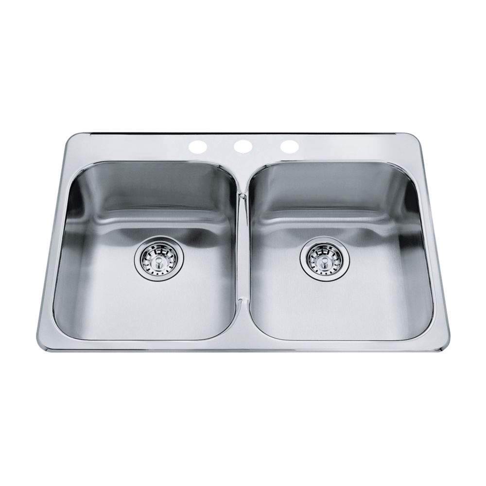 Double 20 Ga Sink 3 Hole Drilling QDL2031/8/3 Canada Discount