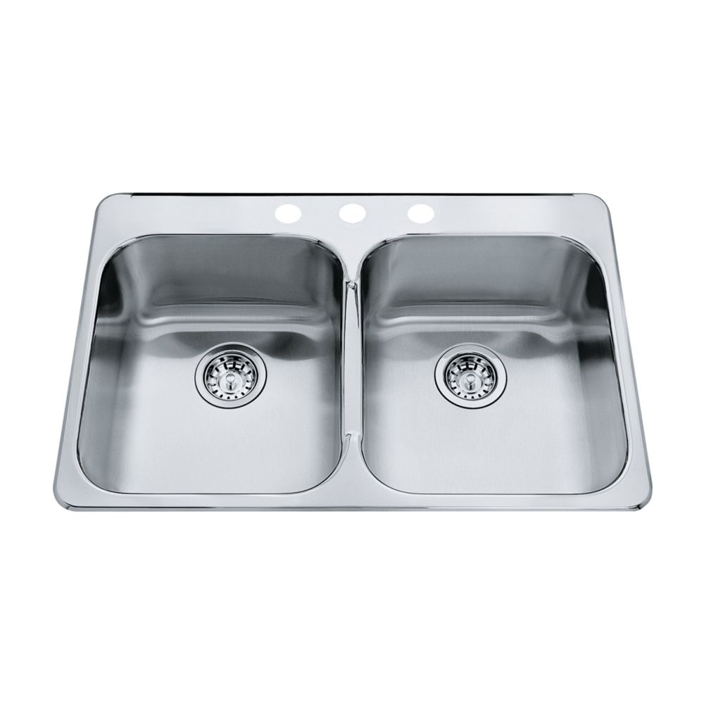 Double  20 Ga sink 3 hole drilling