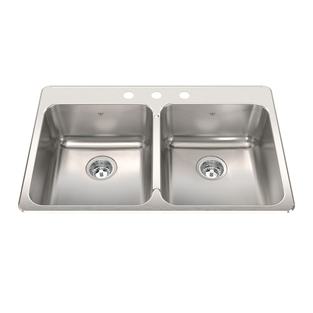 "Kindred Double 20 Ga sink 3 hole drilling -22"" X 33-3/8"" X 8"""