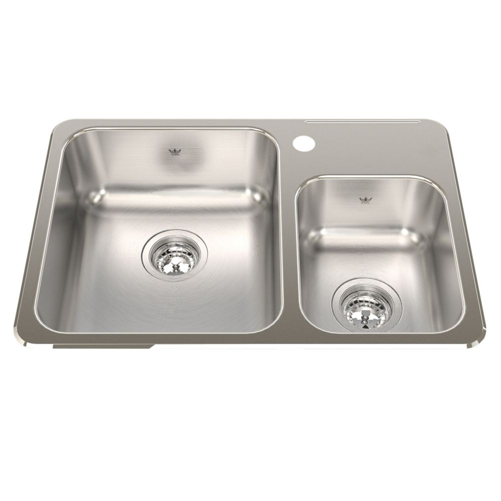 """Kindred Combination 20 Ga sink 1 hole drilling - 18-1/8"""" X 26-1/2"""" X 7"""""""