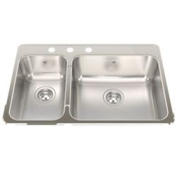 """Kindred Combination LH 20 Ga sink 3 hole drilling - 20-1/2"""" X 31-1/4"""" X 8"""""""