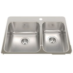"""Kindred Combination RH 20 Ga sink 1 hole drilling - 20-9/16"""" X 27-1/4"""" X 8"""""""
