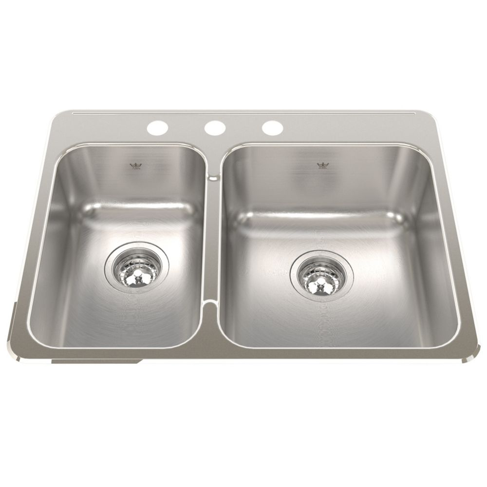 """Kindred Combination LH 20 Ga sink 3 hole drilling - 20-9/16"""" X 27-1/4"""" X 8"""""""