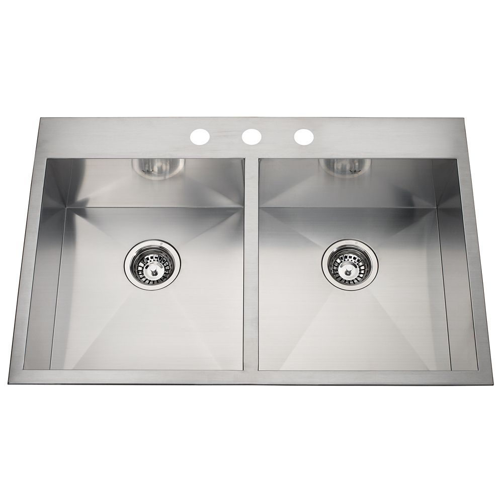 20 Ga Handfab DM Double Sink 3 Hole Drilling QDLF2233/8/3 Canada Discount
