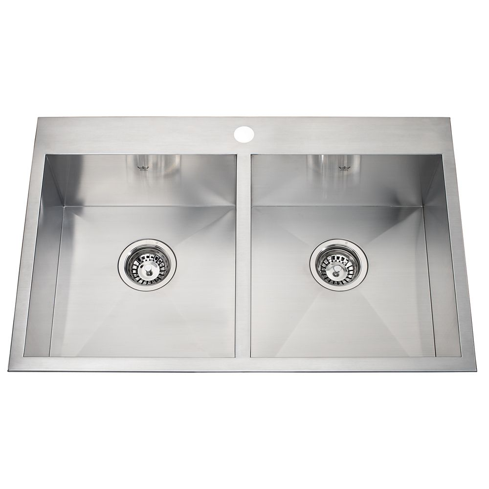20 Ga Handfab DM Double Sink 1 Hole Drilling