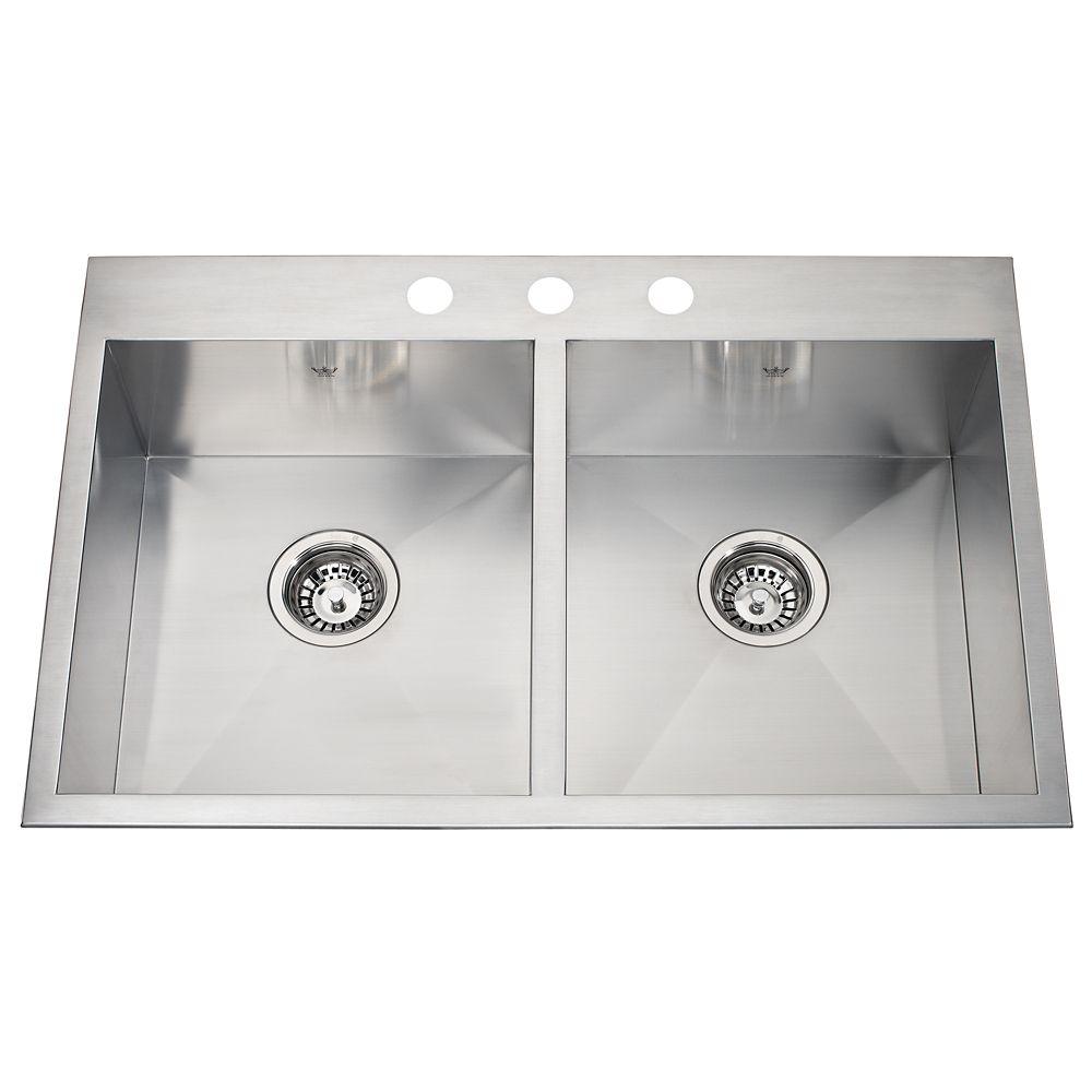 20 Ga Handfab DM Double Sink 3 Hole Drilling
