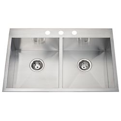 Kindred 20 Ga HandFab DM double sink 3 hole drilling