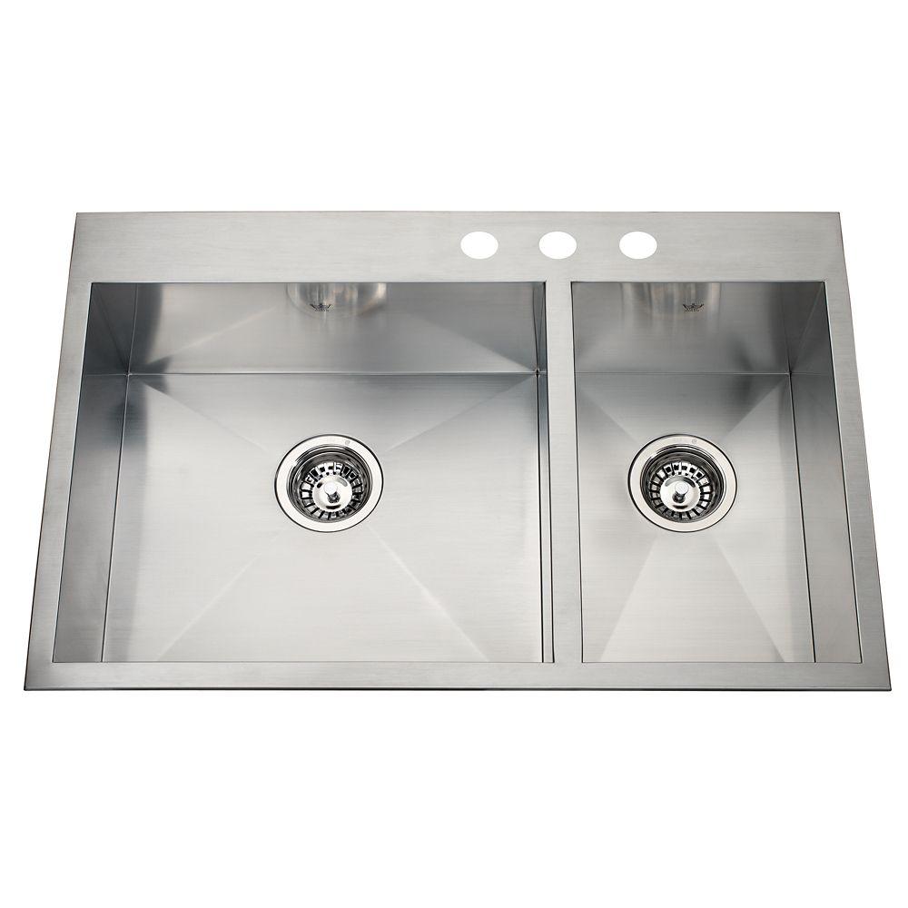20 Ga Handfab DM Combination Sink 3 Hole Drilling