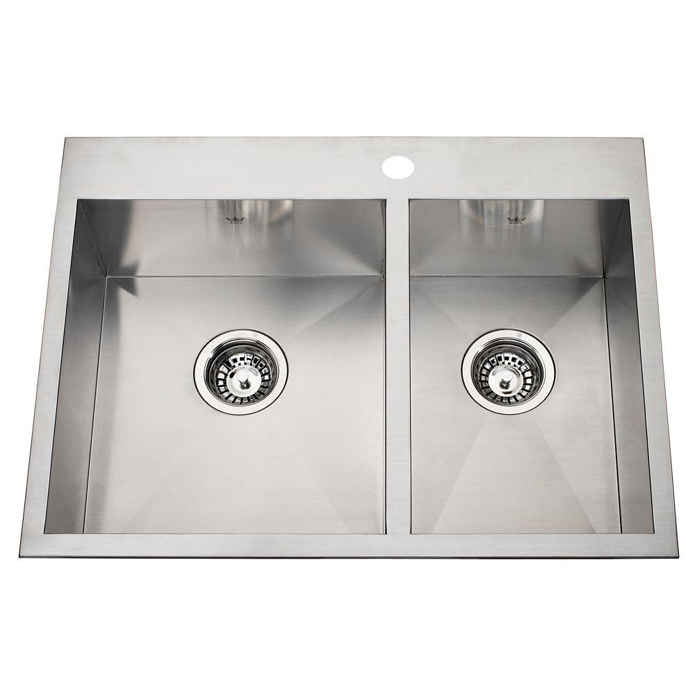 20 Ga Handfab DM Combination Sink 1 Hole Drilling QCLF2027R/8/1 Canada Discount